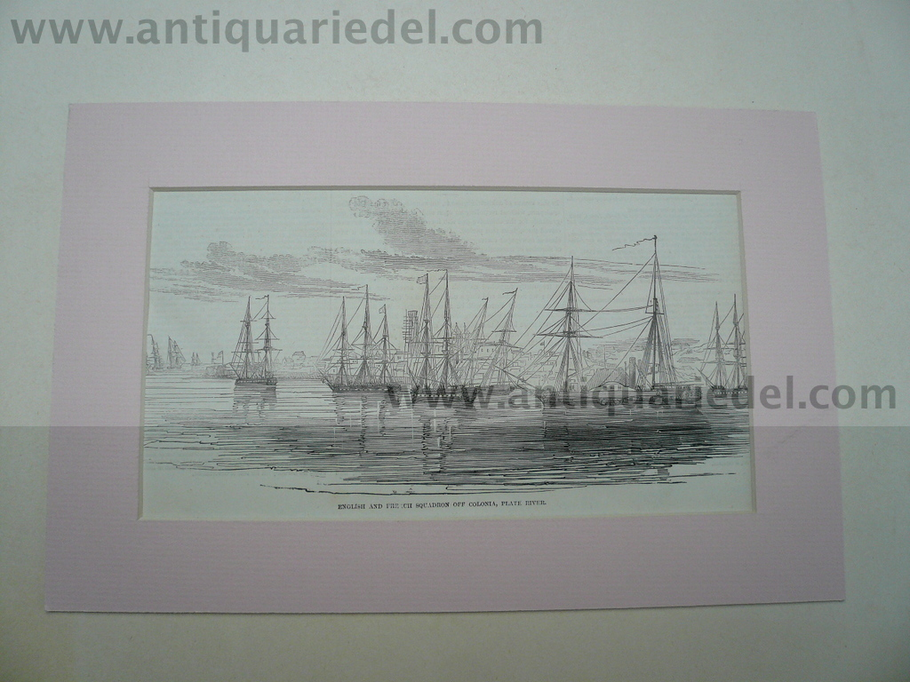 Montevideo, harbour, anno 1850, ships