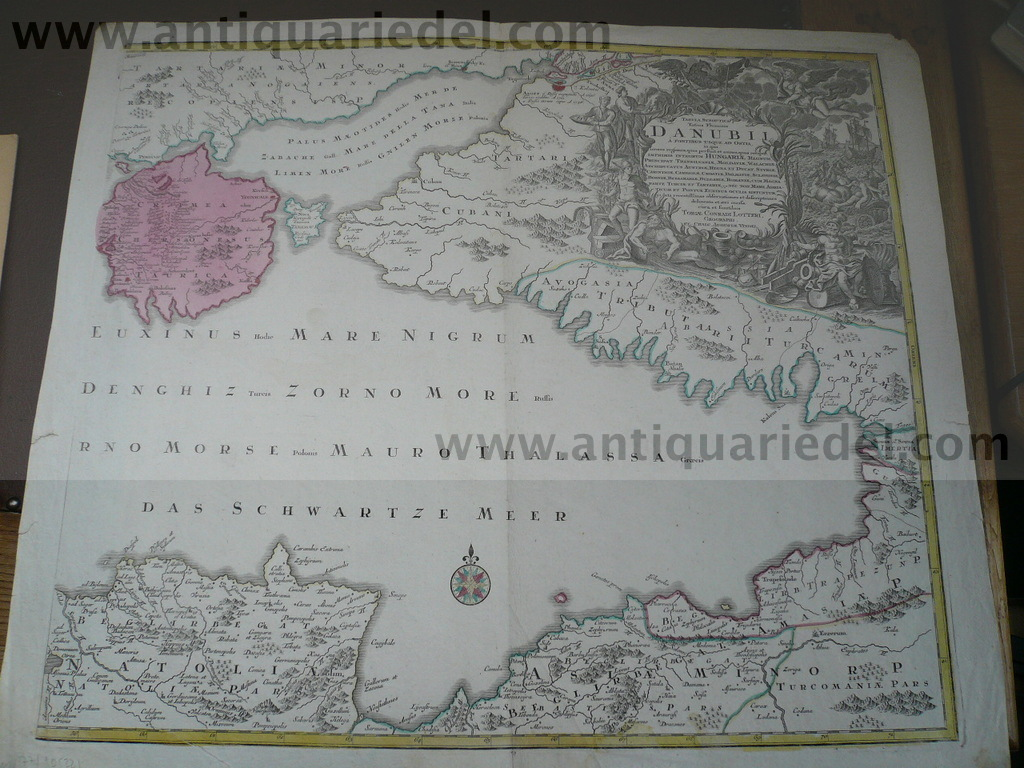 Black Sea, Crimea, Azov, map anno 1760, Lotter