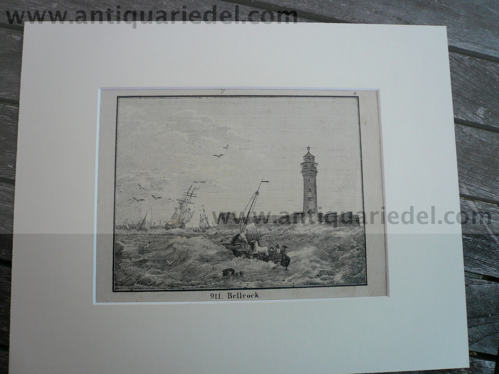 Arbroath-Bell Rock Lighthouse, anno 1830, Lithograph