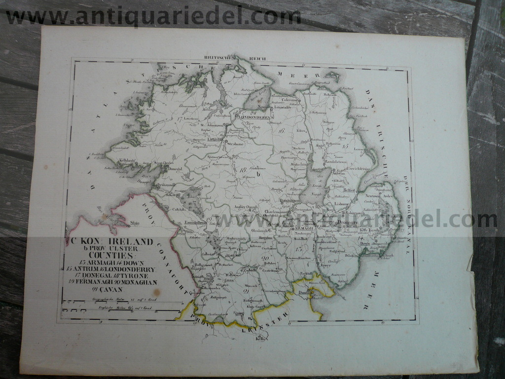 Ireland, Ulster, anno 1850, map