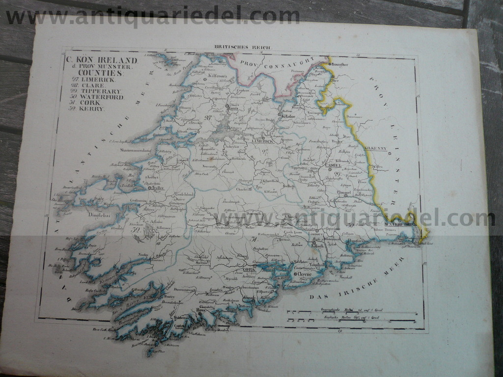 Ireland, Limerick, Cork, anno 1850, map