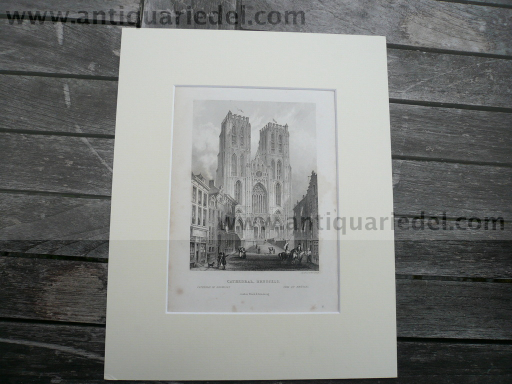 Brussels-Cathedral, anno 1840, steelengraving