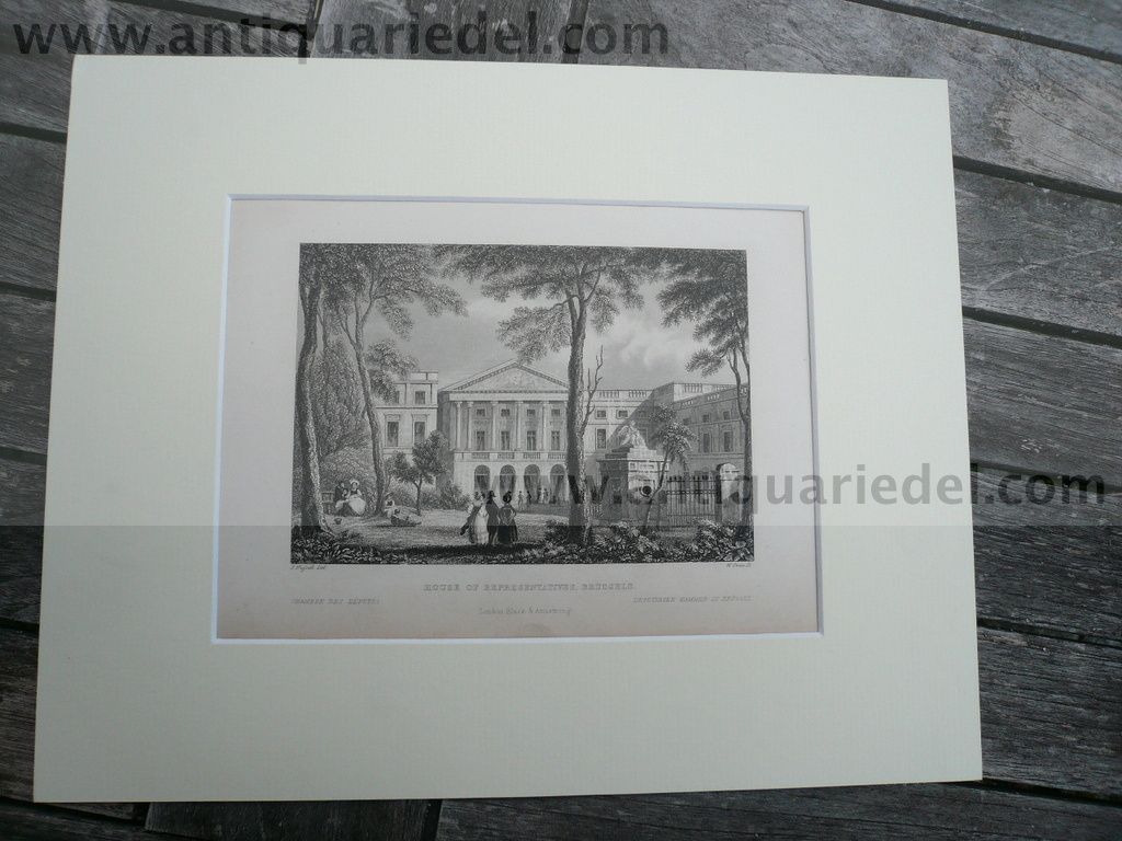 Brussels-House of Representatives, anno 1840, steelengraving