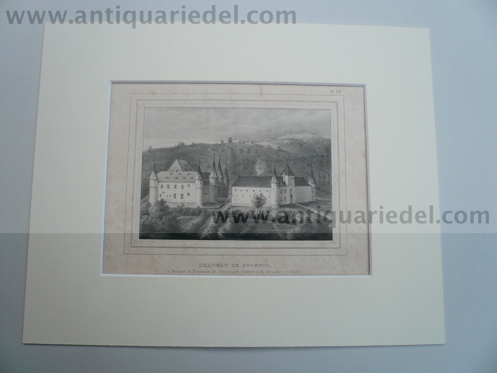 Chateau de Spontin, steelengraving, anno 1850