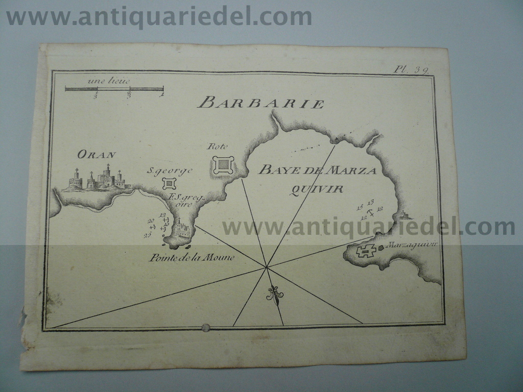 Oran, anno 1795, nautical map, Roux J.