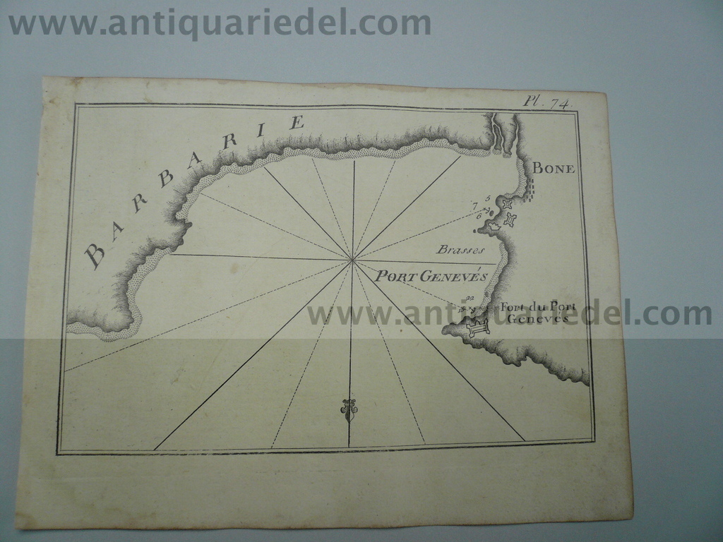 Annaba, anno 1795, nautical map, Roux J.