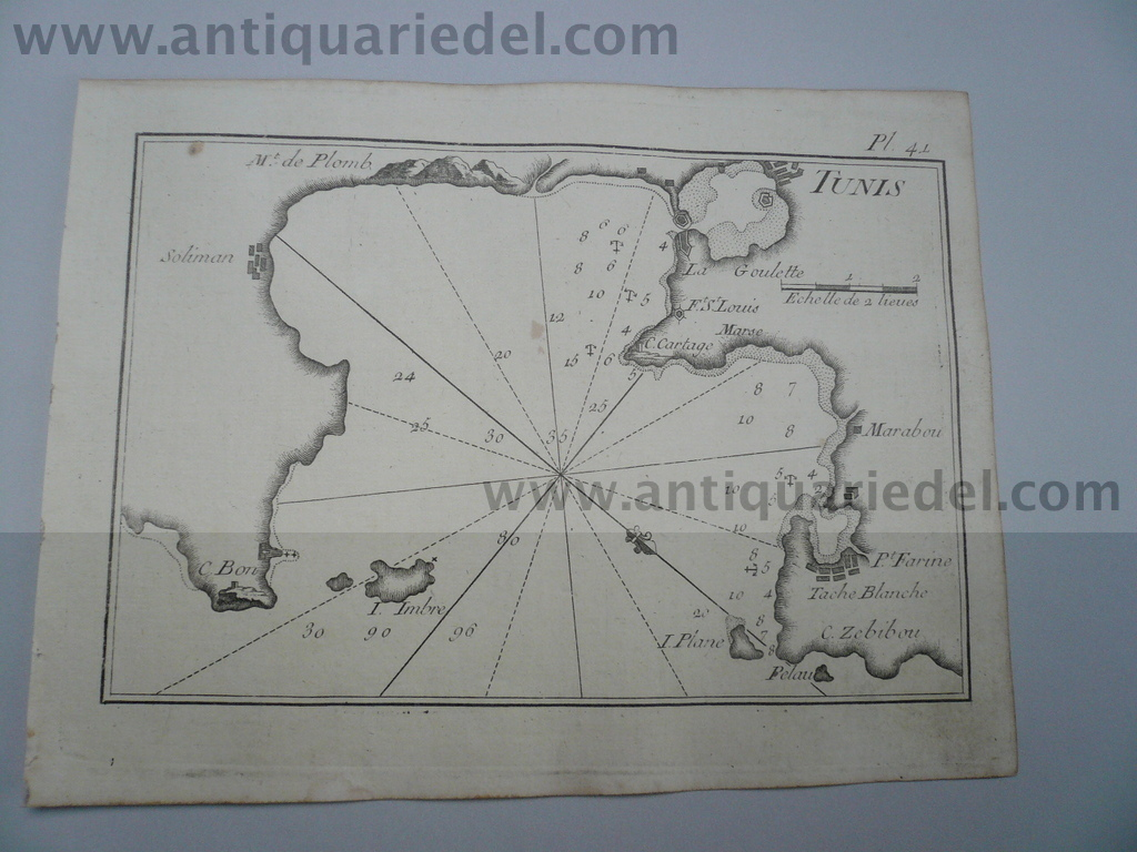 Tunis, nautical map, anno 1795, Roux J.