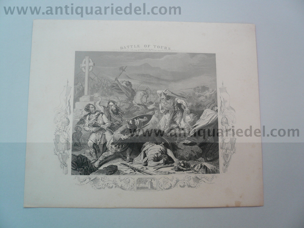 Battle of Tours, steelengraving, ca. anno 1860