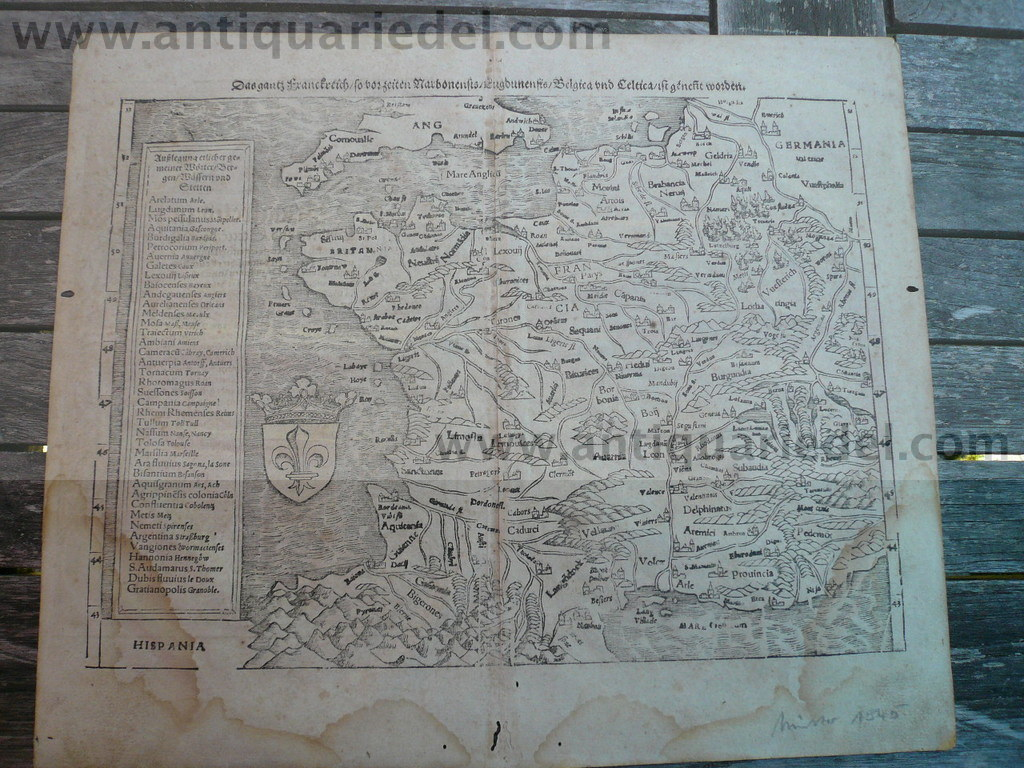 France, anno 1550, map, S. Münster