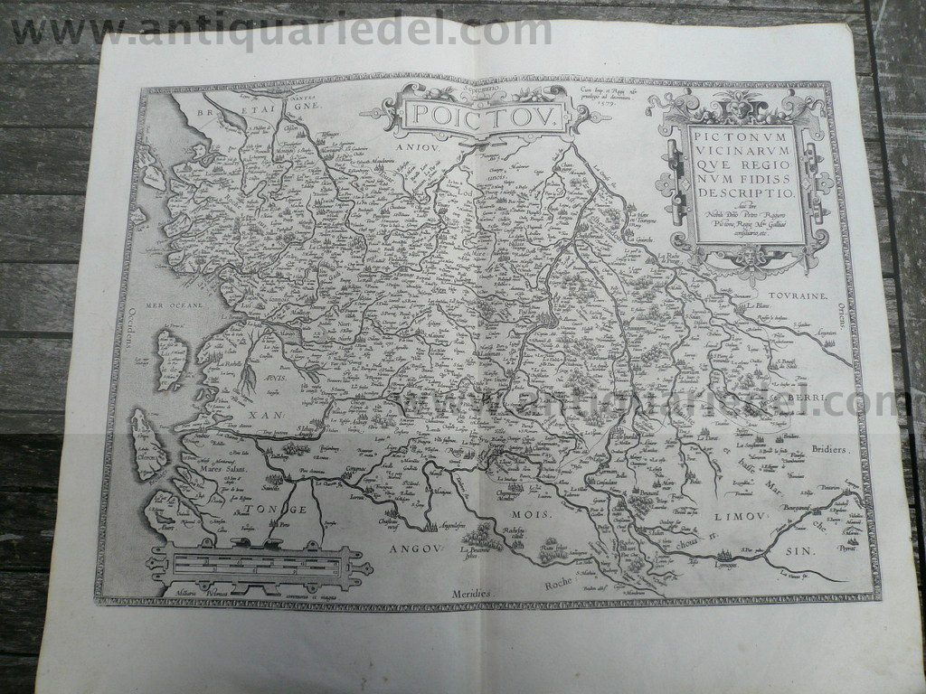 Poictov, anno 1595, map by Ortelius Abraham, good condition