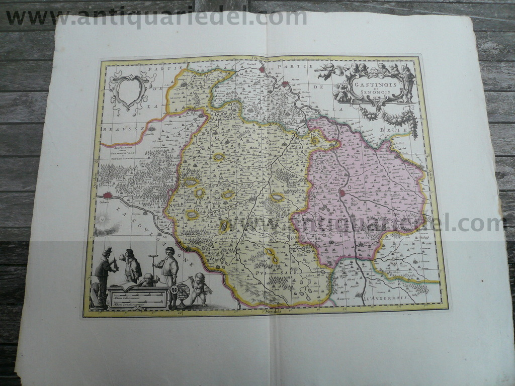 Gastinois et Senonois, anno 1700, map by Schenk/Valk, old colour