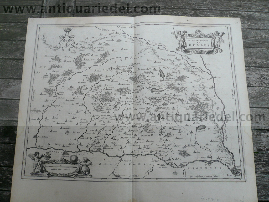 Dombes, anno 1650, map, Blaeu, german text