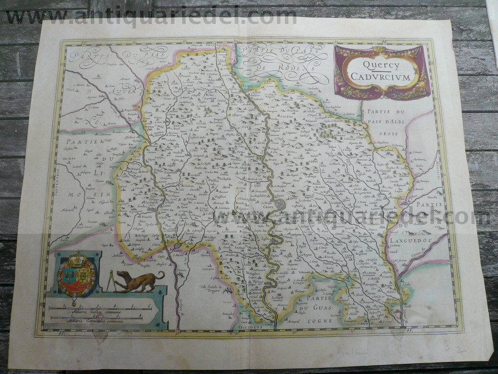 Querci-Cahors-Montauban, anno 1640, map, french text on verso
