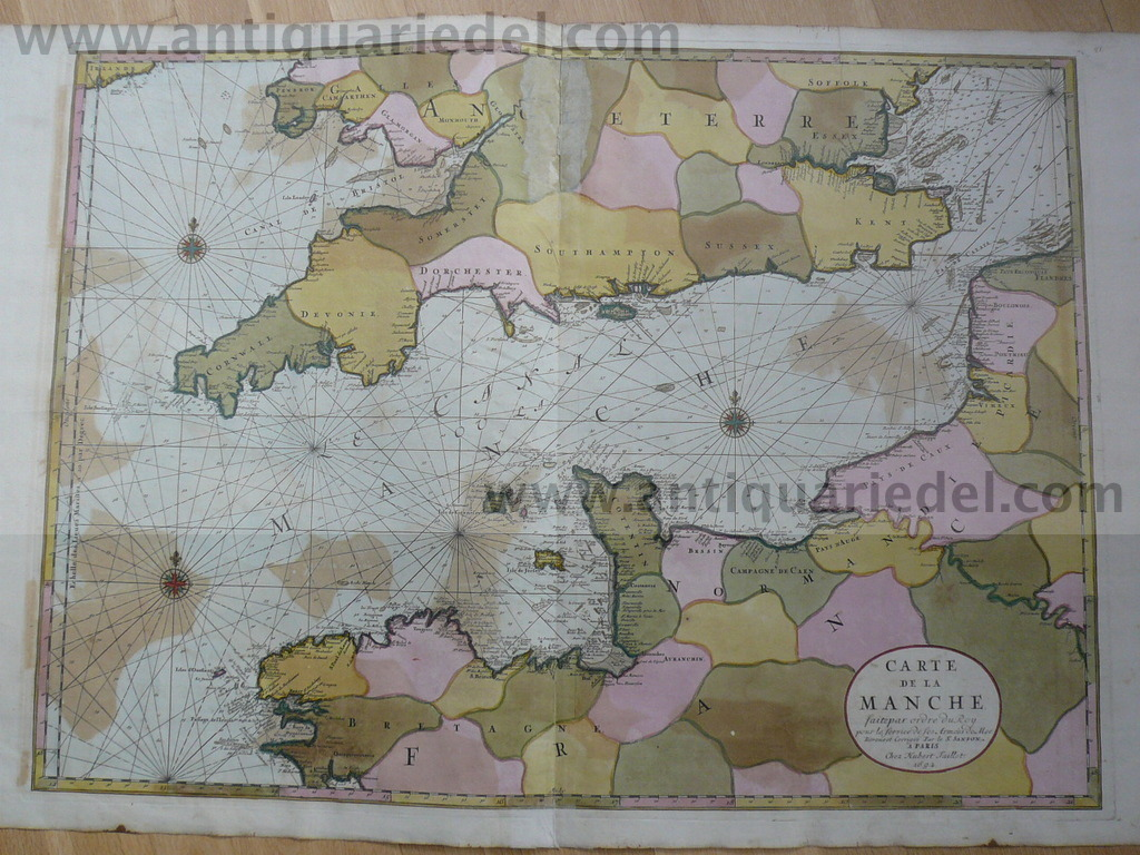 Carte de la Manche, anno 1692, Sanson-Jaillot, old colours