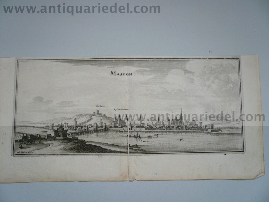 Macon-sur-Saone, anno 1660, Merian M., copperengraving