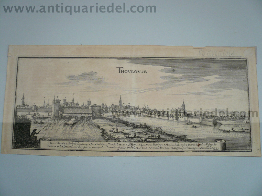 Toulouse, anno 1660, Merian M., copperengraving