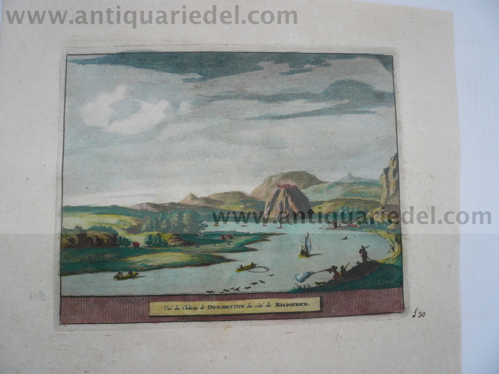Dumbarton-Scotland, anno 1707, P.v.d.Aa, copperengraving