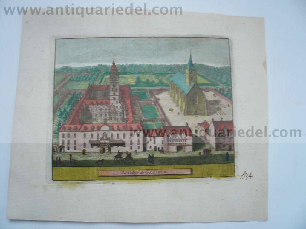 Glasgow College-Scotland, anno 1707, P.v.d.Aa, copperengraving