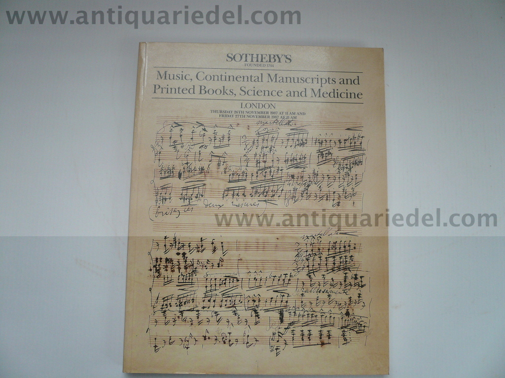 Music, Manuscripts, printed books, London 26.11.1987, Sotheby´s