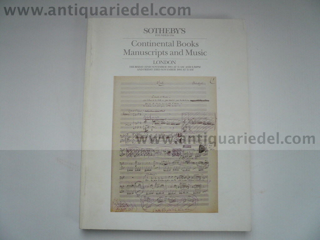 Continental Books Manuscripts and Music, 22.11.1984, Sotheby´s