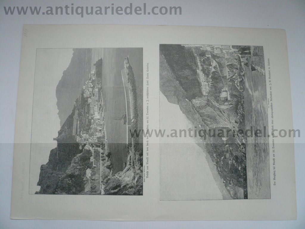Amalfi-Salerno, hangslide of 22.12.1899, woodcut