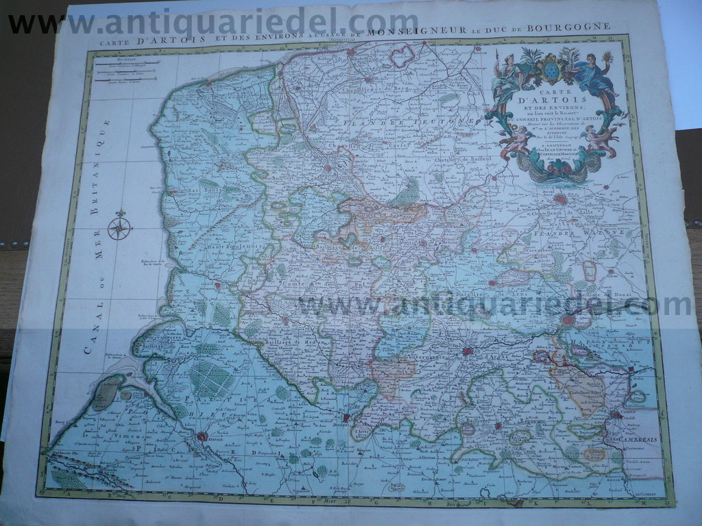 Artois, map, anno 1745, Covens & Mortier, fine print