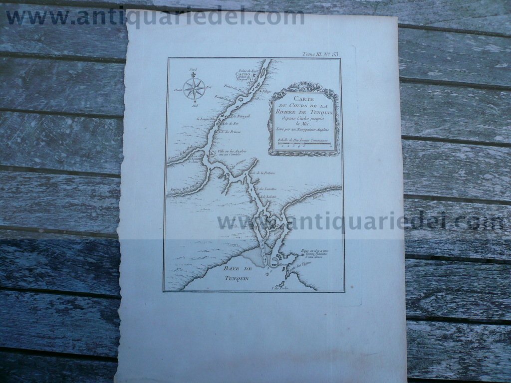 Tonkin, Hanoi, Red River, anno 1764, by N. Bellin, scarce map