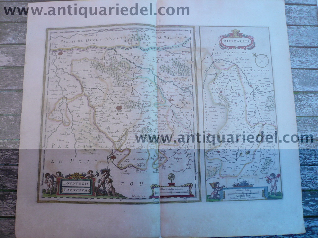 Loudonois-Mirebalais, anno 1658, map, Janssonius J., old colours