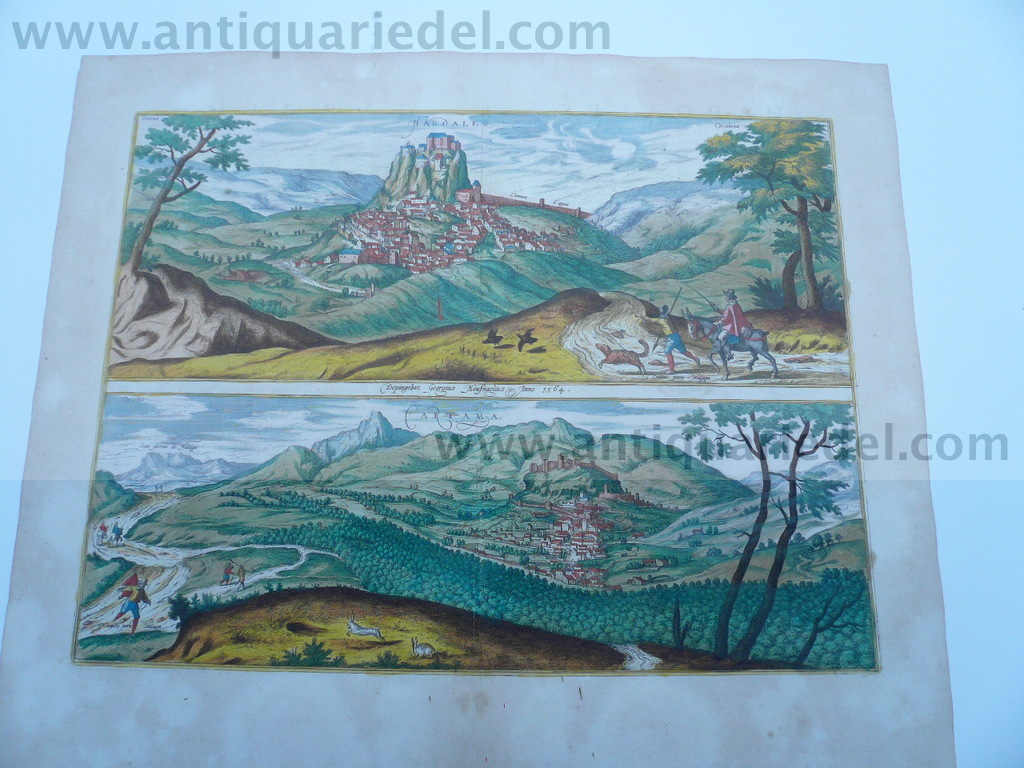 Ardales+Cartama, anno 1598, Braun/Hogenberg, etching, old colour