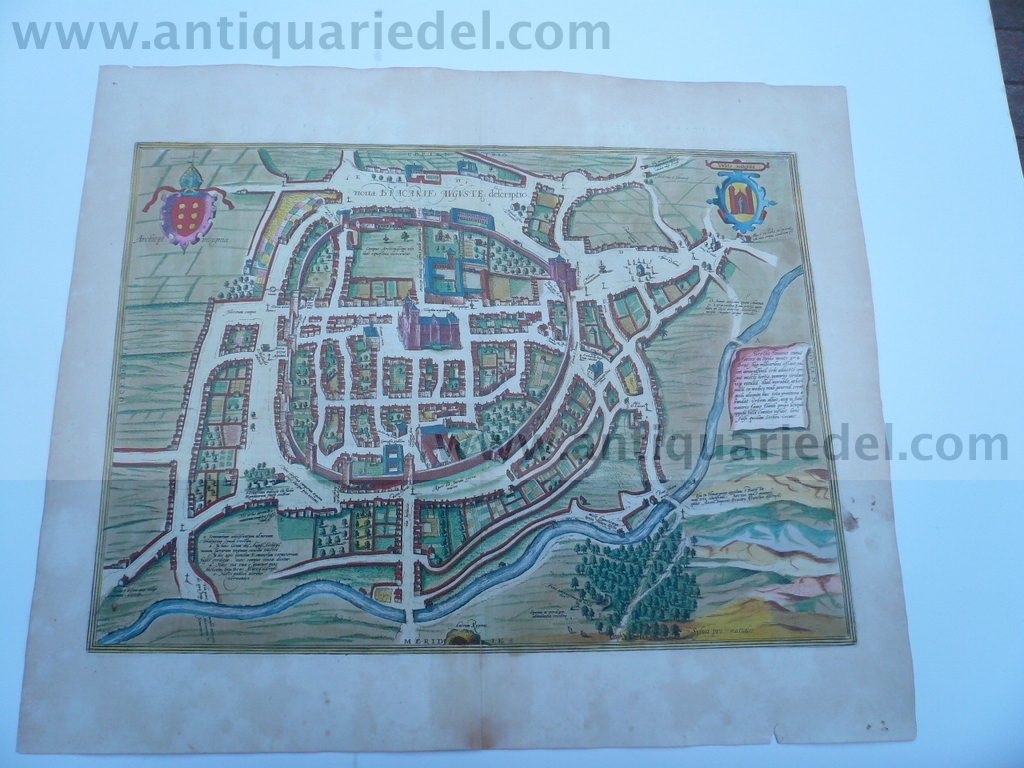 Braga/Portugal, anno 1598, Braun/Hogenberg, old colours  Etching