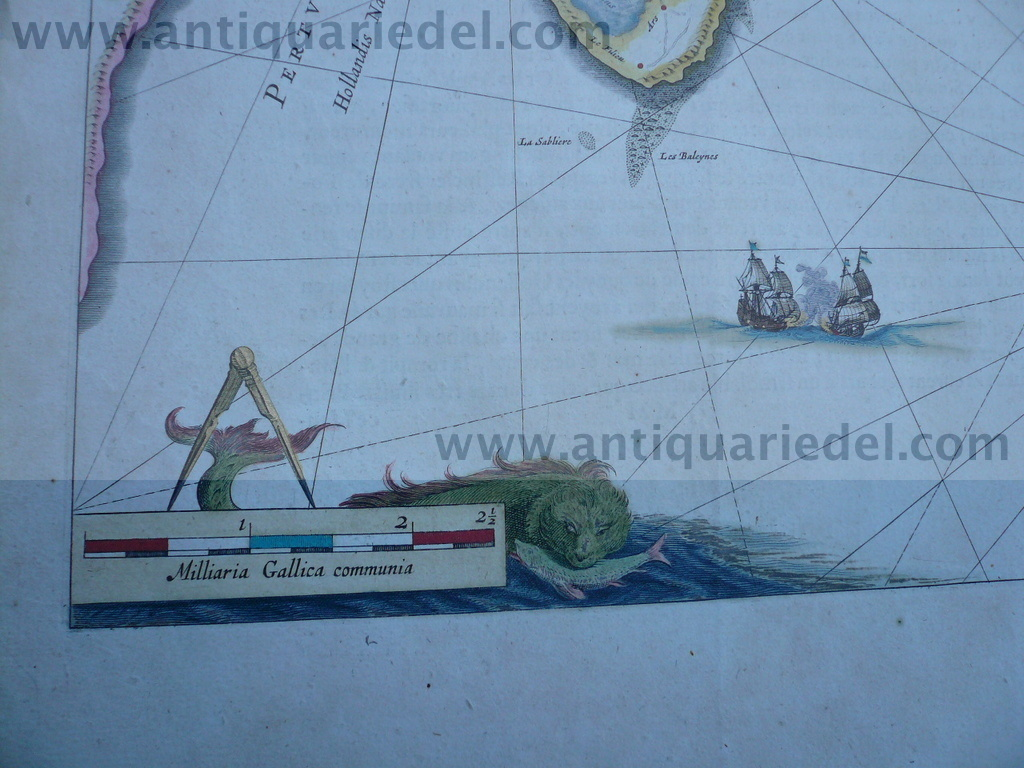 Insulae Re and Oleron, map, Blaeu family, anno 1640, old colours