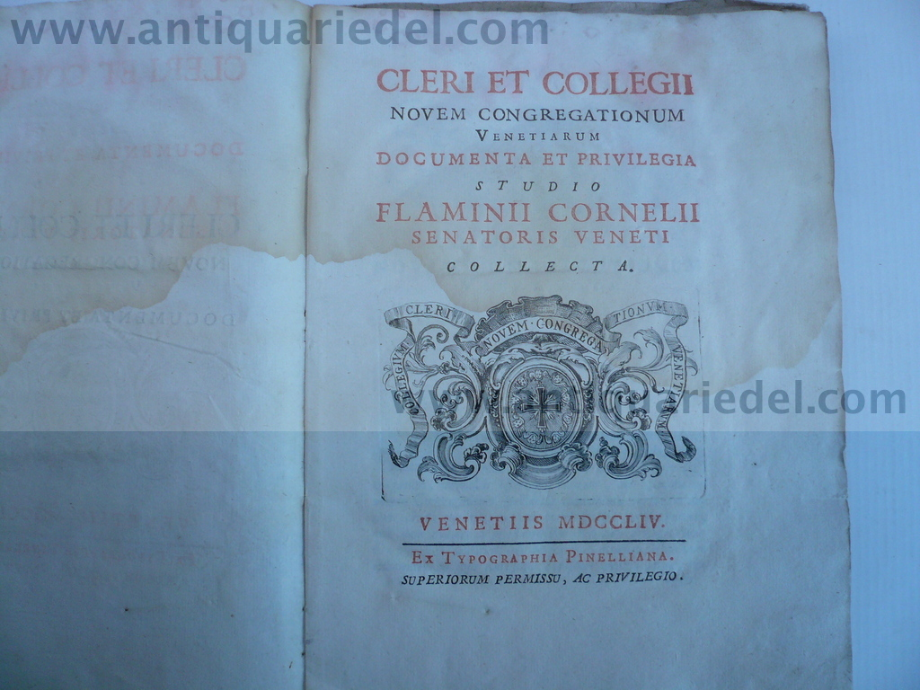 Cleri et collegii novem congregationum Venetiarum..., Corner F.,