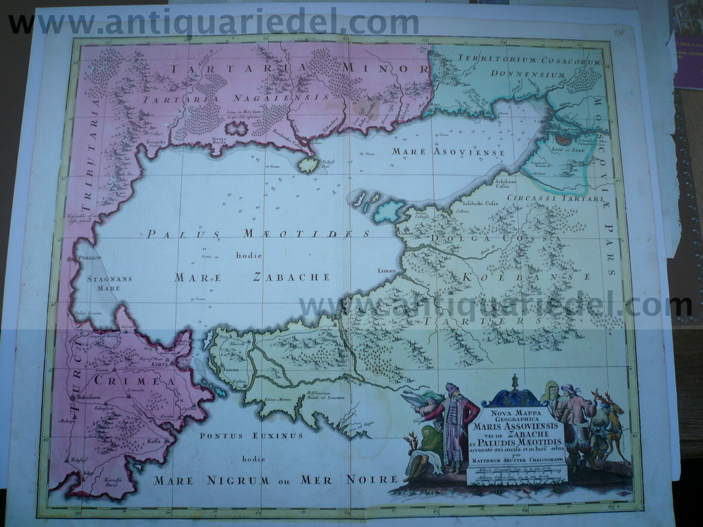 Black Sea,map,Seutter,anno 1730, contemporary coloured Coppermap