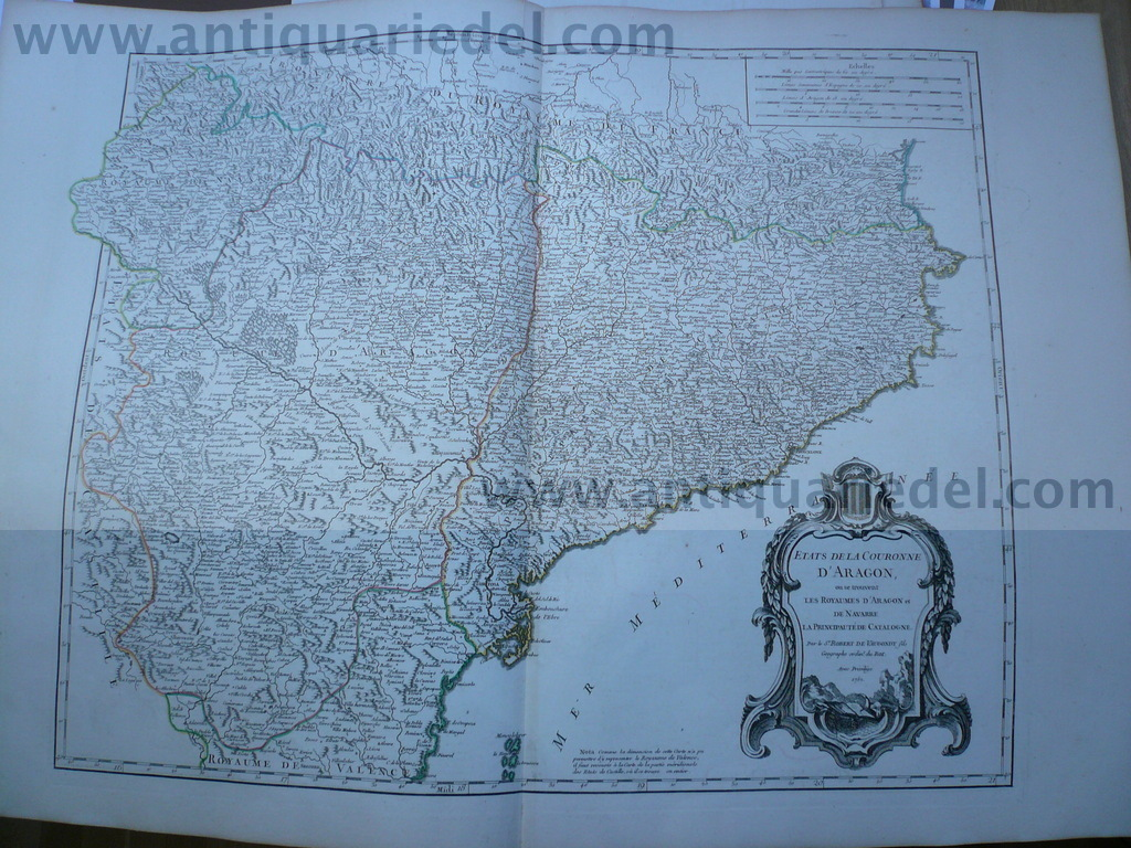 Aragon-Spain, anno 1752, Vaugondy R., scarce map