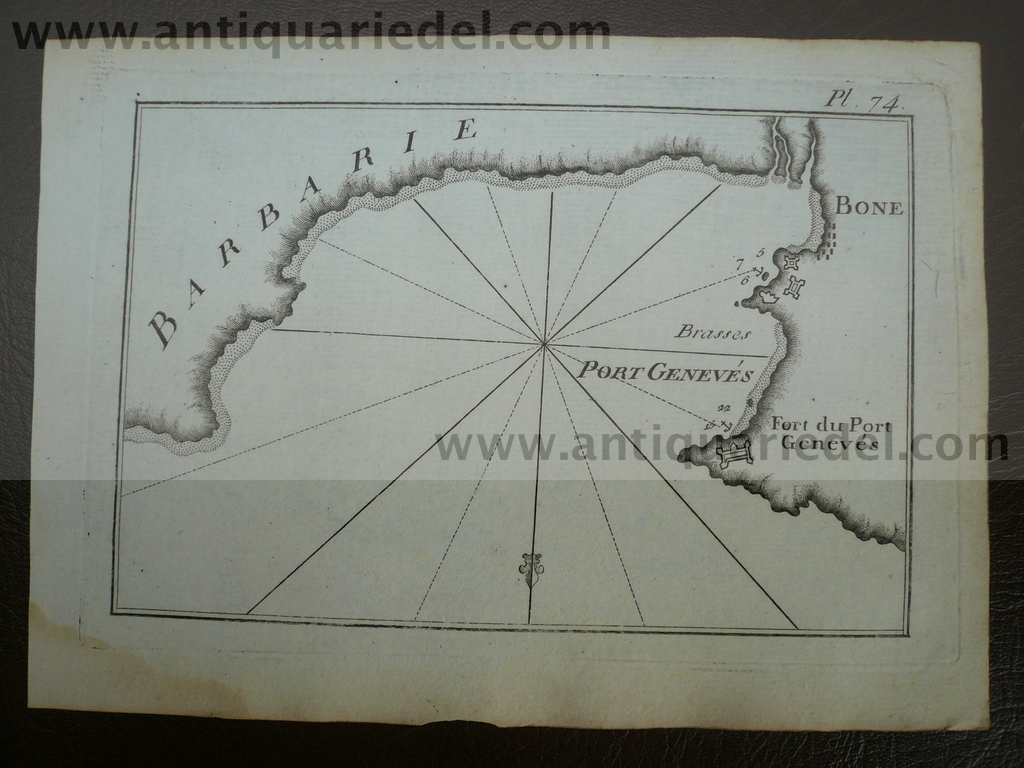 Port Geneves, anno 1795, nautical map, Roux Joseph