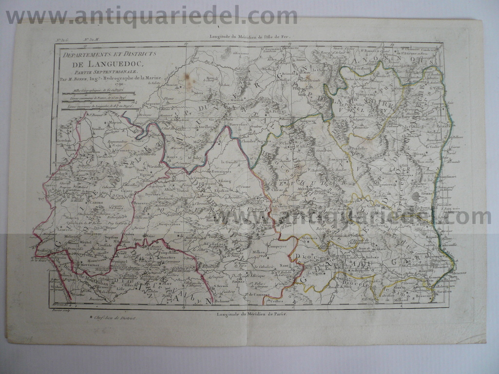 Languedoc-Septentrionale, map Bonne, 1790, size of the leaf: 26x