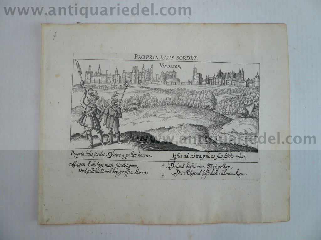 Windsor, anno 1630, Meisner-Kieser, scarce Copperengraving, edit