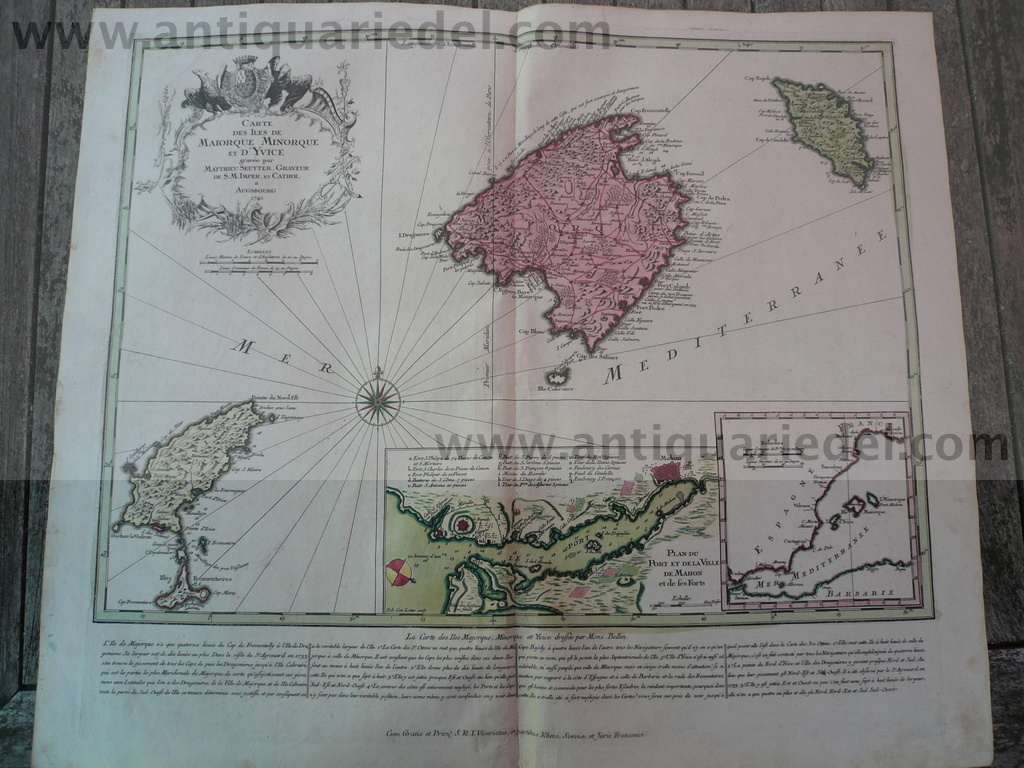 Balearic Islands, anno 1741, Seutter Matthäus, map, good conditi