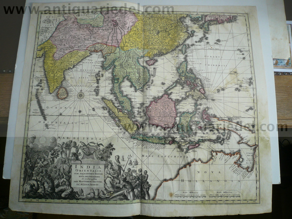 India orientalis,map,Seutter,anno 1740,with Australia Coppermap,
