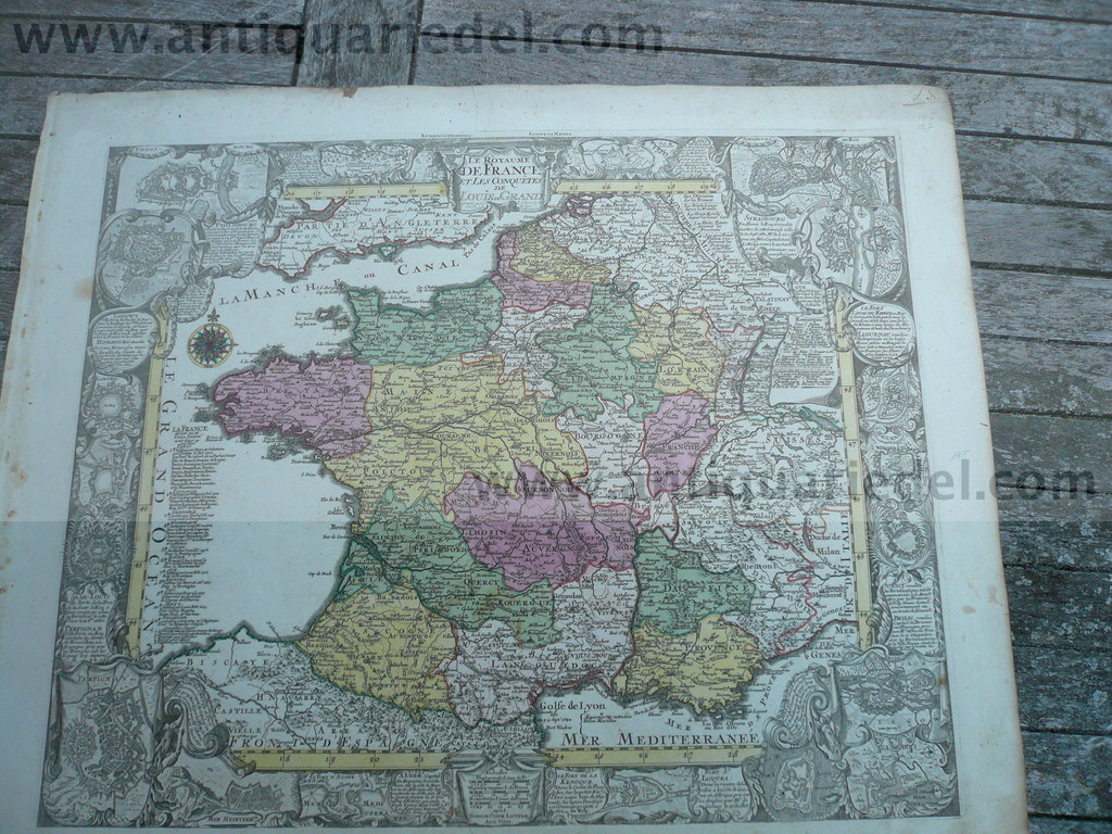 France, anno 1760, decorative map, Lotter, old colours