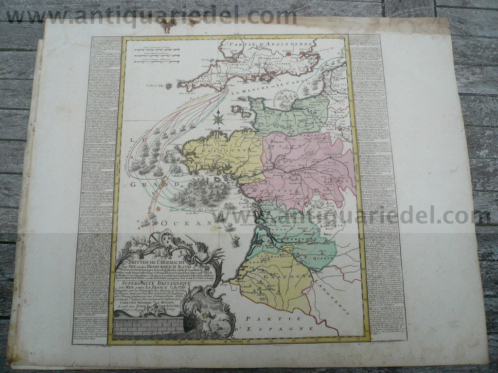 Seven Years War, map, anno 1760, Lotter T.C.