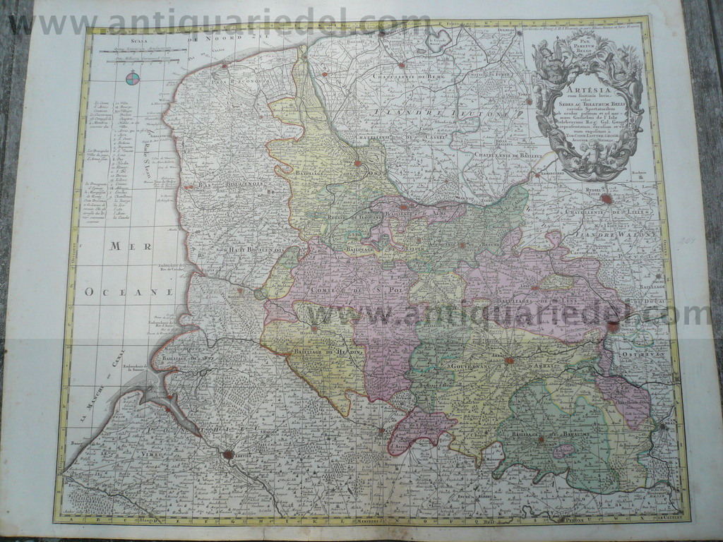 Artesia, old coloured map, Lotter T.C., anno 1740 Size of the le