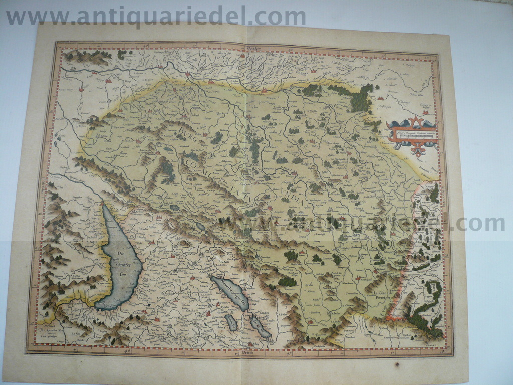 Burgundia Superior, anno 1610, Mercator, contemporary colours