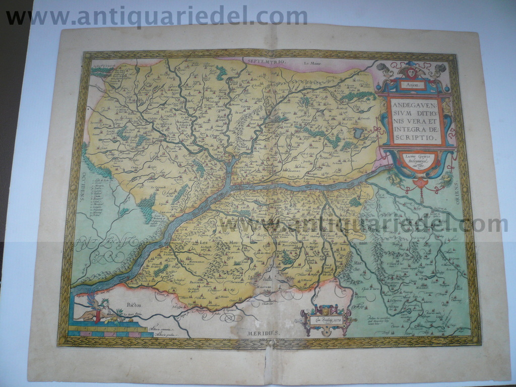 Anjou/Angers/Loire, map Ortelius A. anno 1595 Copperengraving, e