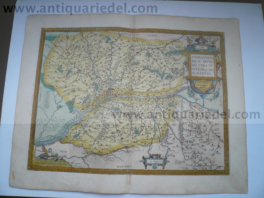 Anjou/Angers/Loire, map Ortelius A. anno 1592 Copperengraving, e