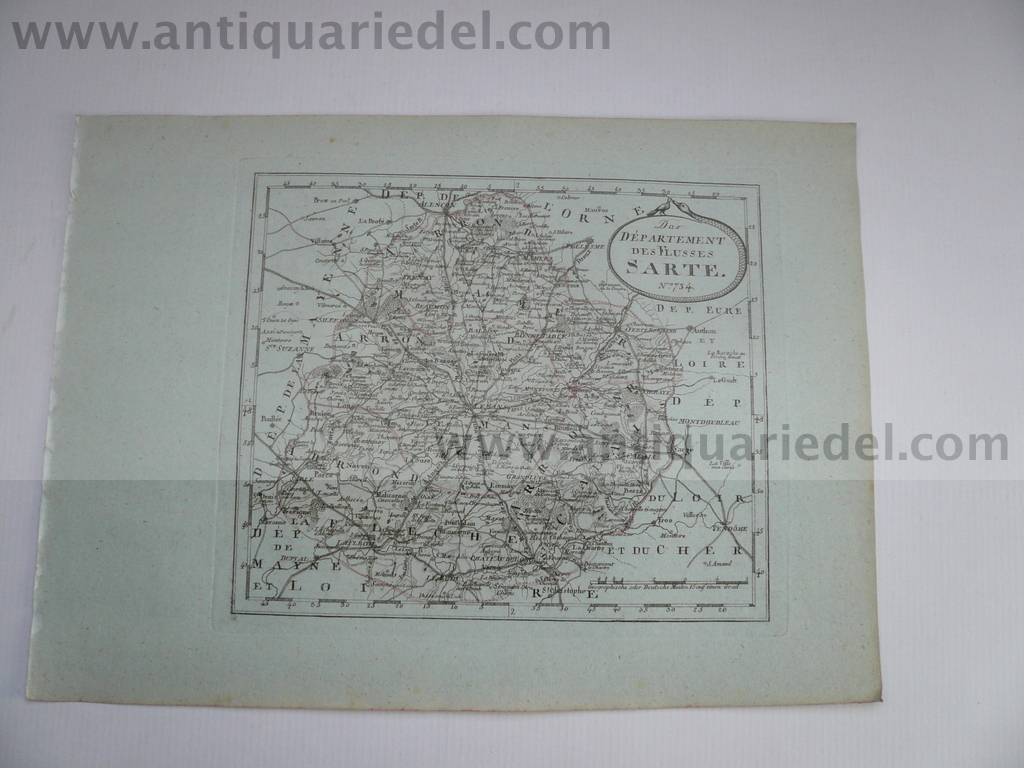 Departement riviere Sarte--Le Mans, anno 1806, map Reilly F.J.,