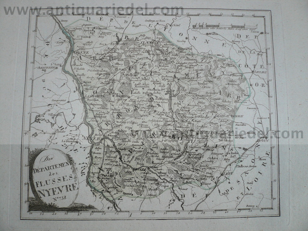 Departement Nievre-Nevers-anno 1806, map by Reilly F.J.
