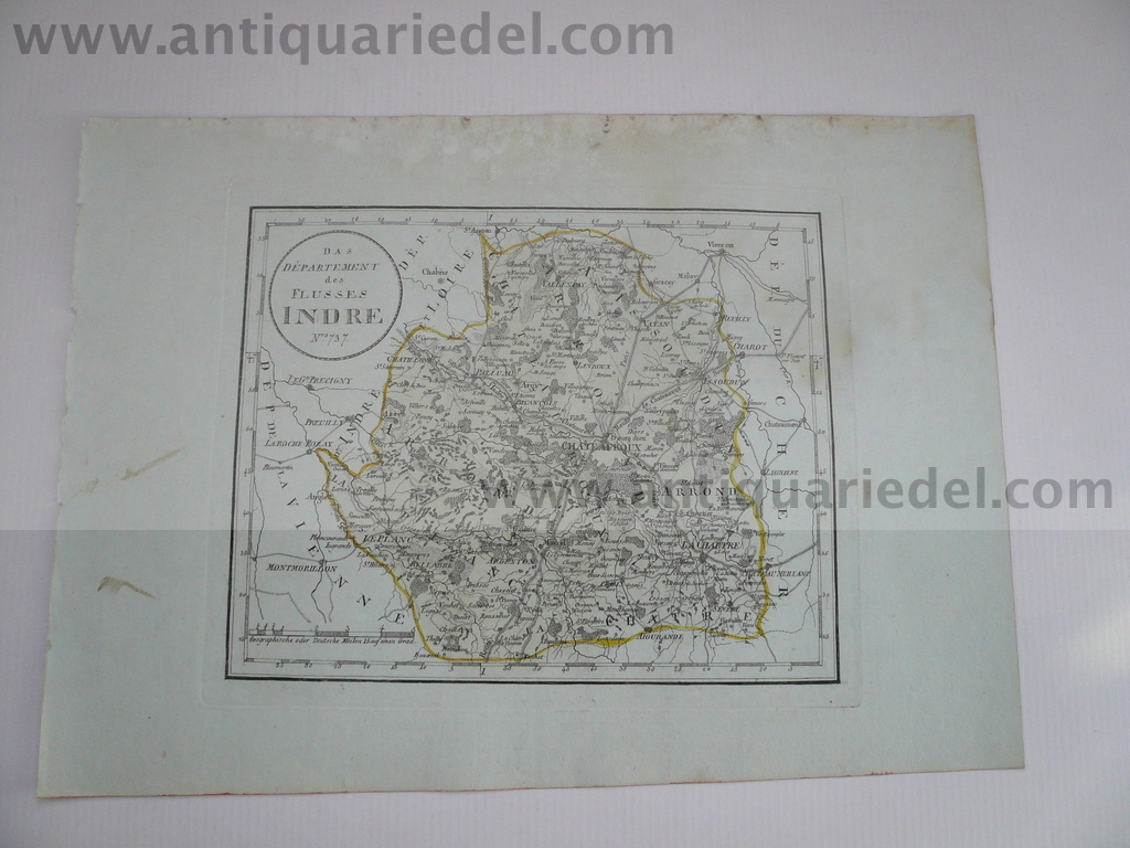 Departement Indre, anno 1806, map, by Reilly F.J.