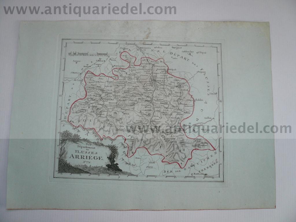 Mapiers-Departement Arriege, anno 1806, map, Reilly