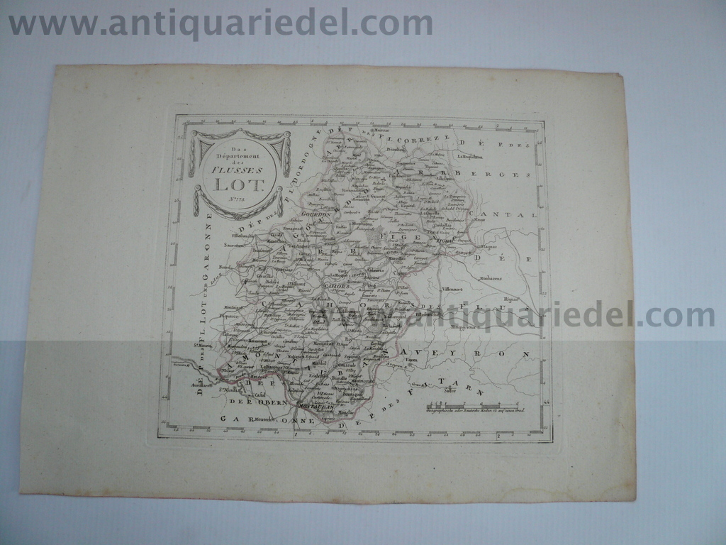 Departement riviere Lot, anno 1806, map, Reilly